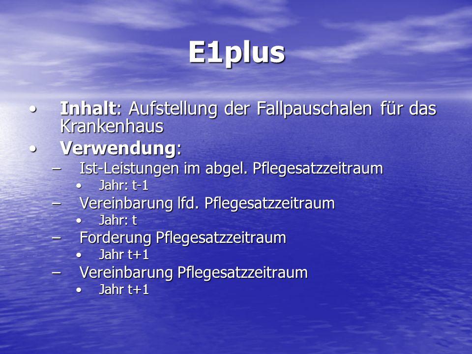 E1plus Inhalt: Aufstellung der Fallpauschalen für das KrankenhausInhalt: Aufstellung der Fallpauschalen für das Krankenhaus Verwendung:Verwendung: –Is