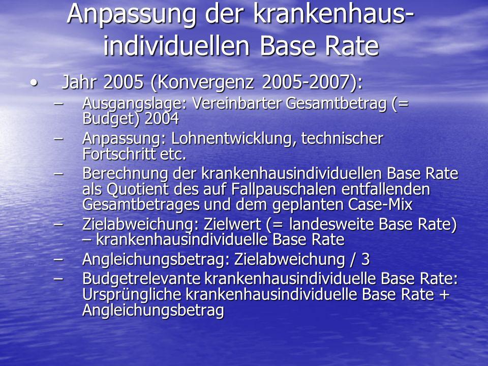 Anpassung der krankenhaus- individuellen Base Rate Jahr 2005 (Konvergenz 2005-2007):Jahr 2005 (Konvergenz 2005-2007): –Ausgangslage: Vereinbarter Gesa