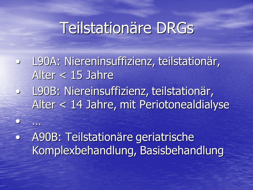 Teilstationäre DRGs L90A: Niereninsuffizienz, teilstationär, Alter < 15 JahreL90A: Niereninsuffizienz, teilstationär, Alter < 15 Jahre L90B: Niereinsu