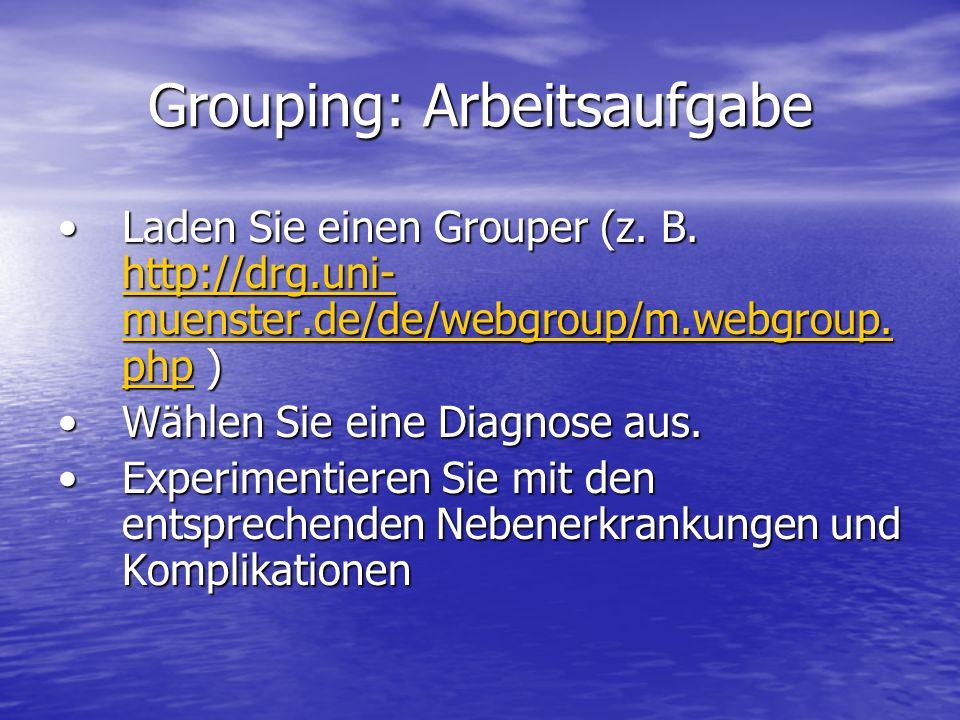 Grouping: Arbeitsaufgabe Laden Sie einen Grouper (z. B. http://drg.uni- muenster.de/de/webgroup/m.webgroup. php )Laden Sie einen Grouper (z. B. http:/