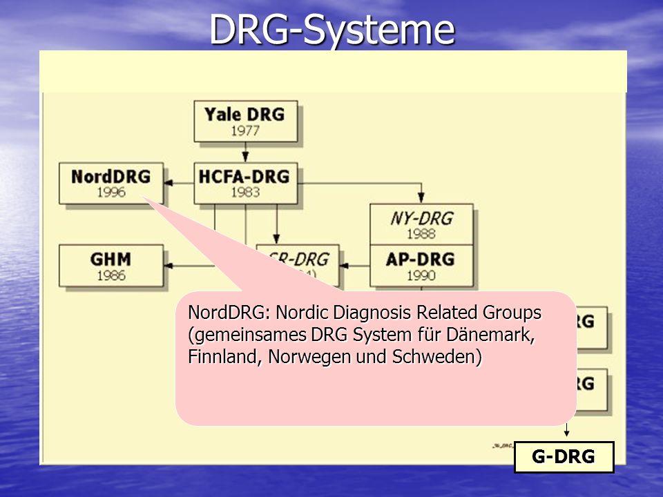 DRG-SystemeG-DRG NordDRG: Nordic Diagnosis Related Groups (gemeinsames DRG System für Dänemark, Finnland, Norwegen und Schweden)