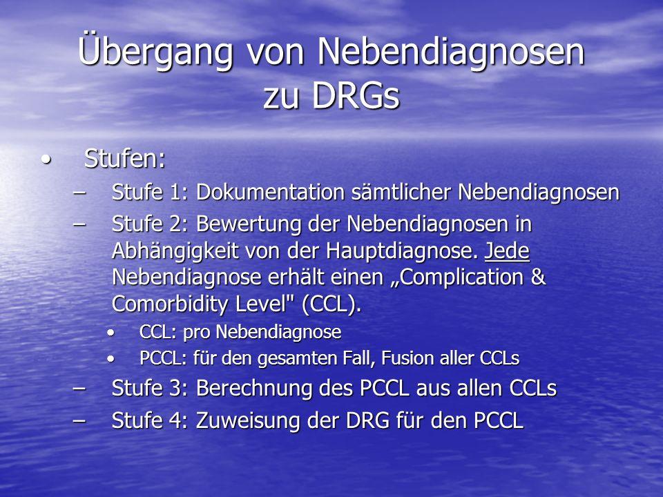 Übergang von Nebendiagnosen zu DRGs Stufen:Stufen: –Stufe 1: Dokumentation sämtlicher Nebendiagnosen –Stufe 2: Bewertung der Nebendiagnosen in Abhängi