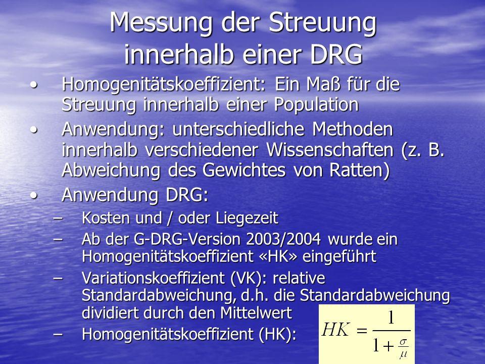 Messung der Streuung innerhalb einer DRG Homogenitätskoeffizient: Ein Maß für die Streuung innerhalb einer PopulationHomogenitätskoeffizient: Ein Maß