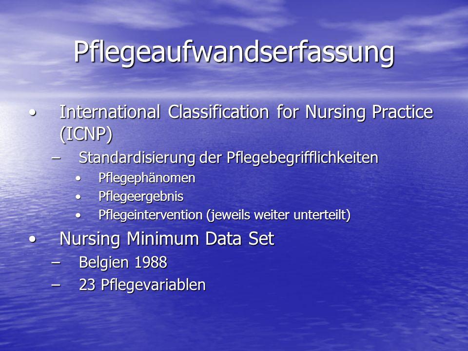 Pflegeaufwandserfassung International Classification for Nursing Practice (ICNP)International Classification for Nursing Practice (ICNP) –Standardisie