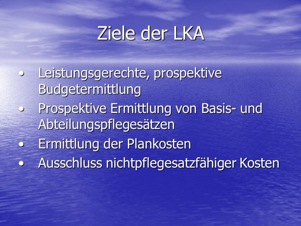 Ziele der LKA Leistungsgerechte, prospektive BudgetermittlungLeistungsgerechte, prospektive Budgetermittlung Prospektive Ermittlung von Basis- und Abt