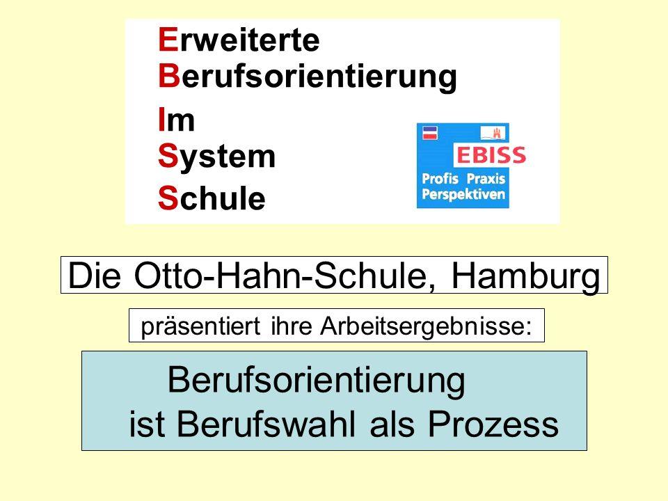 Otto-Hahn-Schule, Hamburg Berufsorientierung ist Berufswahl als Prozess Ausrichtung auf Qualifikationsanforderungen des Beschäftigungs- systems und selbstgesteuerte Kompetenzanalyse als pragmatisches System von Lebens – und Berufsplanung Berufsorientierung im engeren Sinne Berufsorientierung im weiteren Sinne.
