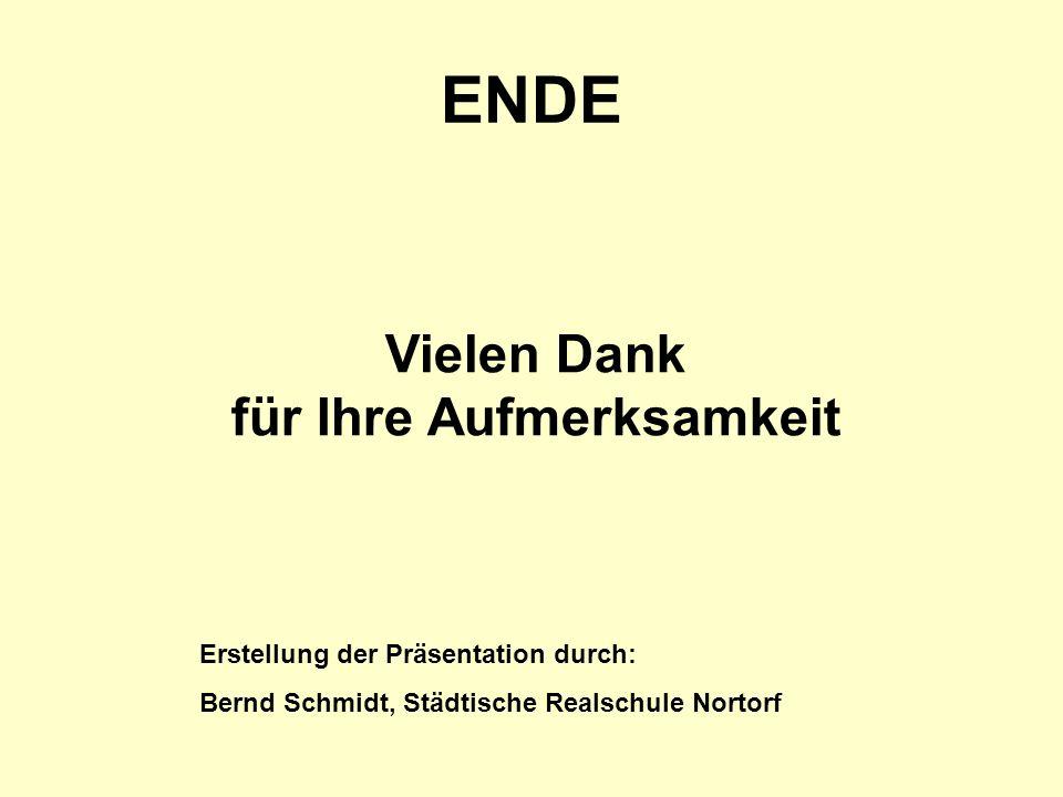 ENDE Vielen Dank für Ihre Aufmerksamkeit Erstellung der Präsentation durch: Bernd Schmidt, Städtische Realschule Nortorf