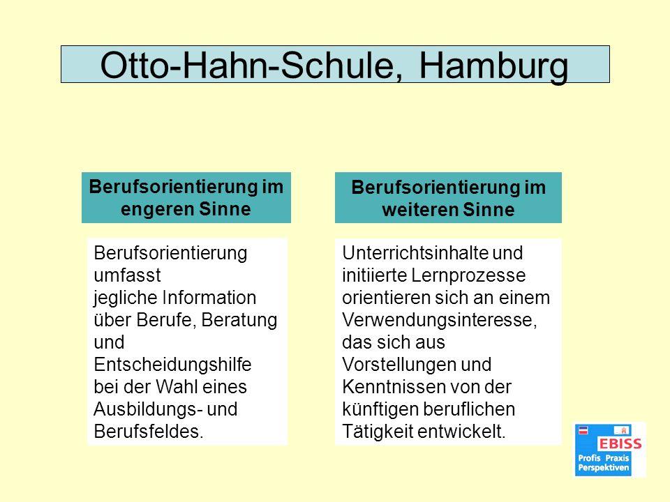 Berufsorientierung im engeren Sinne Berufsorientierung im weiteren Sinne Otto-Hahn-Schule, Hamburg Berufsorientierung umfasst jegliche Information übe