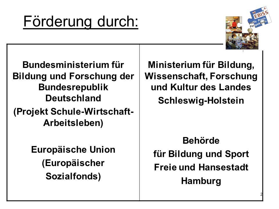 2 Förderung durch: Bundesministerium für Bildung und Forschung der Bundesrepublik Deutschland (Projekt Schule-Wirtschaft- Arbeitsleben) Europäische Un
