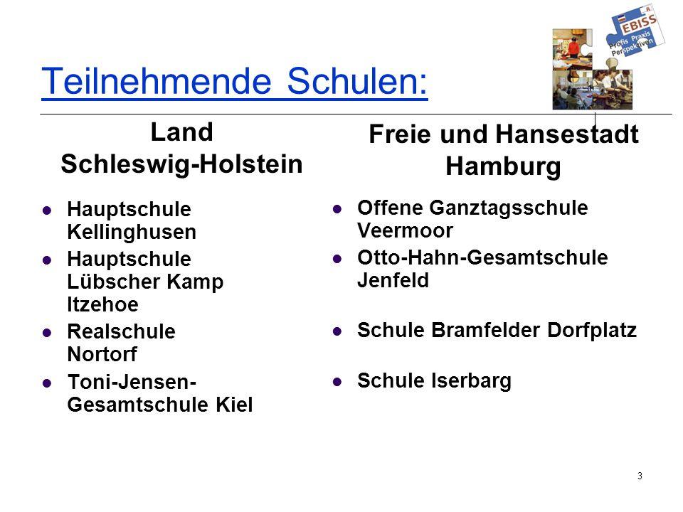 3 Teilnehmende Schulen : Hauptschule Kellinghusen Hauptschule Lübscher Kamp Itzehoe Realschule Nortorf Toni-Jensen- Gesamtschule Kiel Offene Ganztagss