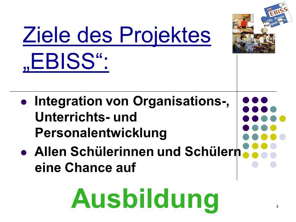 4 Ziele des Projektes EBISS: Integration von Organisations-, Unterrichts- und Personalentwicklung Allen Schülerinnen und Schülern eine Chance auf Ausbildung