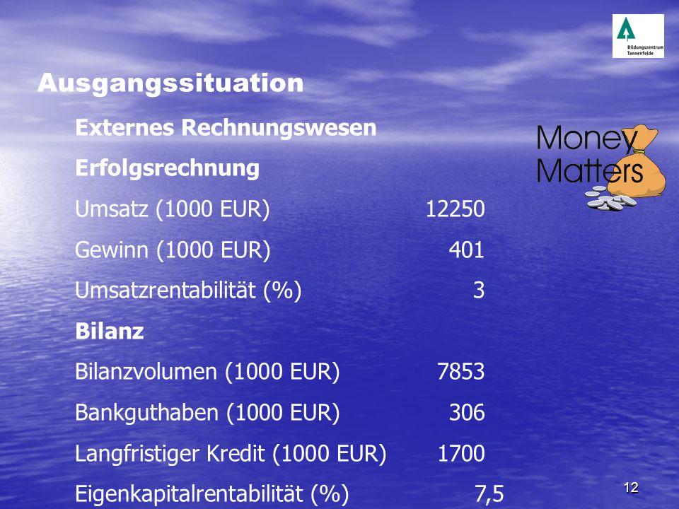 12 Externes Rechnungswesen Erfolgsrechnung Umsatz (1000 EUR)12250 Gewinn (1000 EUR)401 Umsatzrentabilität (%)3 Bilanz Bilanzvolumen (1000 EUR)7853 Ban