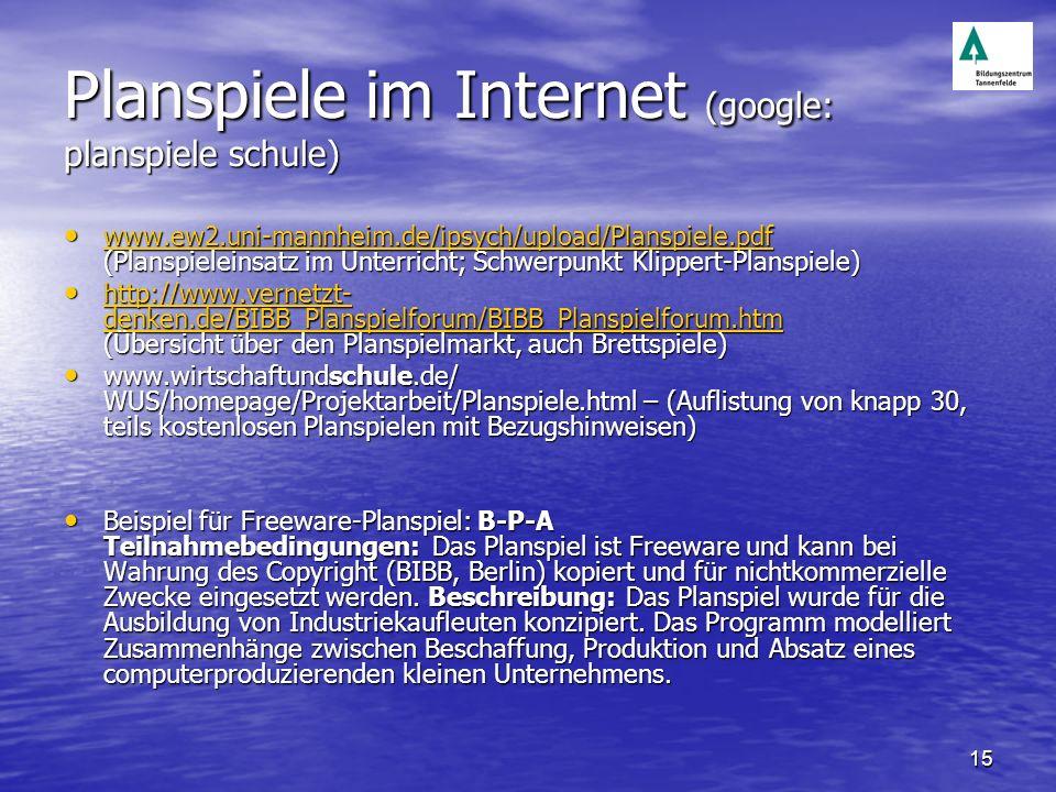 15 Planspiele im Internet (google: planspiele schule) www.ew2.uni-mannheim.de/ipsych/upload/Planspiele.pdf (Planspieleinsatz im Unterricht; Schwerpunk