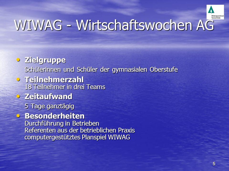 5 WIWAG - Wirtschaftswochen AG Zielgruppe Schülerinnen und Schüler der gymnasialen Oberstufe Zielgruppe Schülerinnen und Schüler der gymnasialen Obers