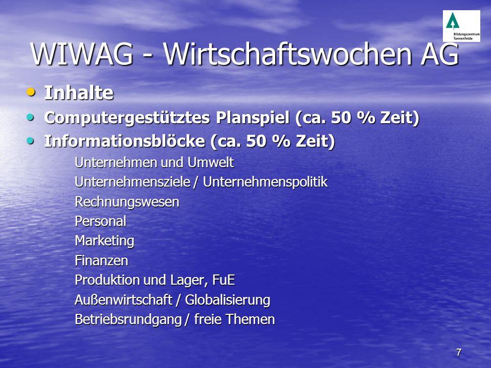 7 WIWAG - Wirtschaftswochen AG Inhalte Inhalte Computergestütztes Planspiel (ca. 50 % Zeit) Computergestütztes Planspiel (ca. 50 % Zeit) Informationsb