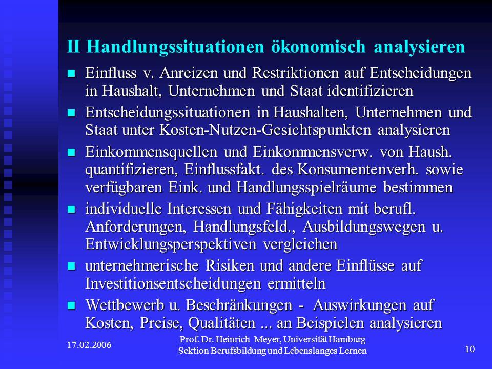 17.02.2006 Prof. Dr. Heinrich Meyer, Universität Hamburg Sektion Berufsbildung und Lebenslanges Lernen 10 II Handlungssituationen ökonomisch analysier