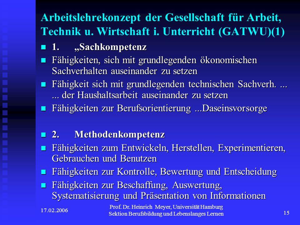 17.02.2006 Prof. Dr. Heinrich Meyer, Universität Hamburg Sektion Berufsbildung und Lebenslanges Lernen 15 Arbeitslehrekonzept der Gesellschaft für Arb