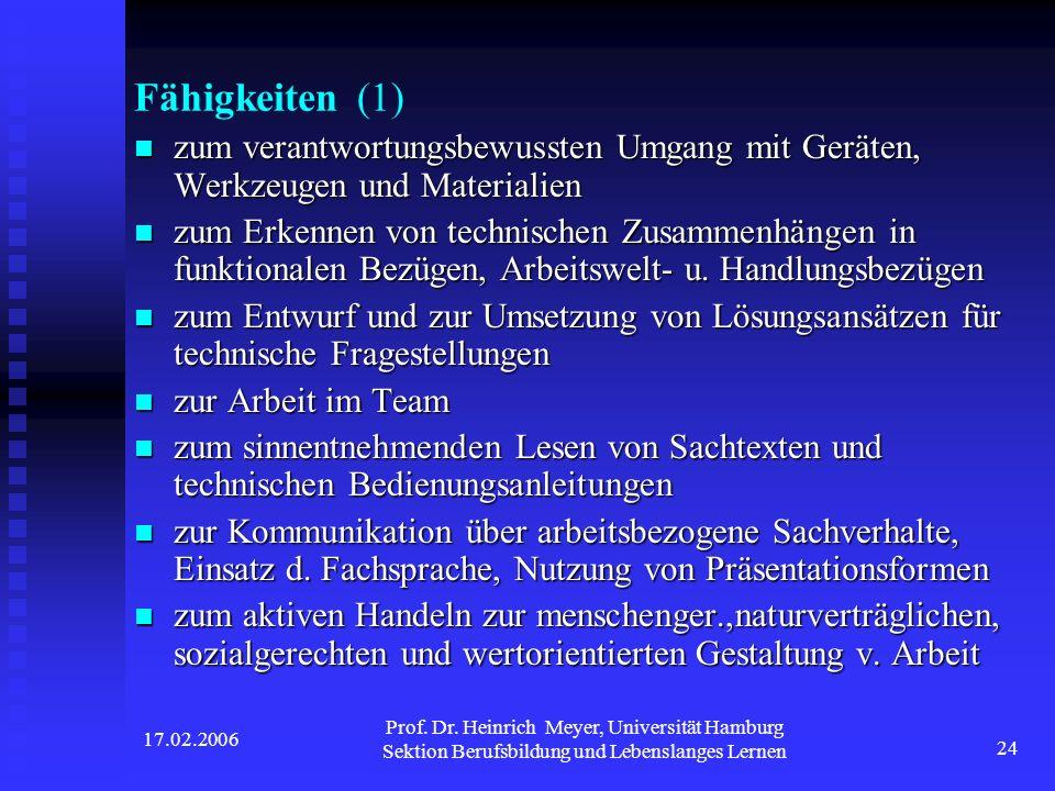 17.02.2006 Prof. Dr. Heinrich Meyer, Universität Hamburg Sektion Berufsbildung und Lebenslanges Lernen 24 Fähigkeiten (1) zum verantwortungsbewussten