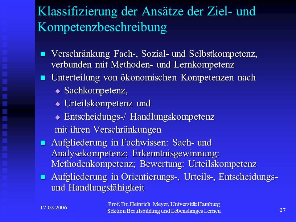 17.02.2006 Prof. Dr. Heinrich Meyer, Universität Hamburg Sektion Berufsbildung und Lebenslanges Lernen 27 Klassifizierung der Ansätze der Ziel- und Ko