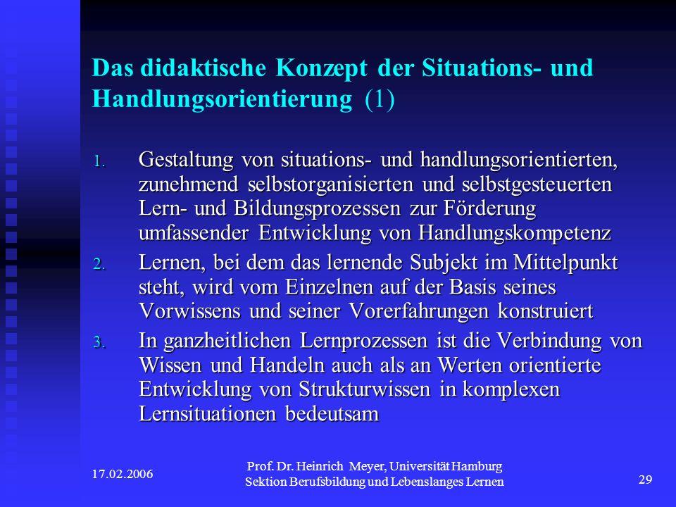 17.02.2006 Prof. Dr. Heinrich Meyer, Universität Hamburg Sektion Berufsbildung und Lebenslanges Lernen 29 Das didaktische Konzept der Situations- und