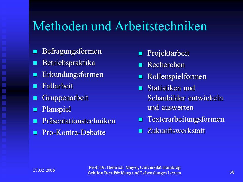 17.02.2006 Prof. Dr. Heinrich Meyer, Universität Hamburg Sektion Berufsbildung und Lebenslanges Lernen 38 Methoden und Arbeitstechniken Befragungsform