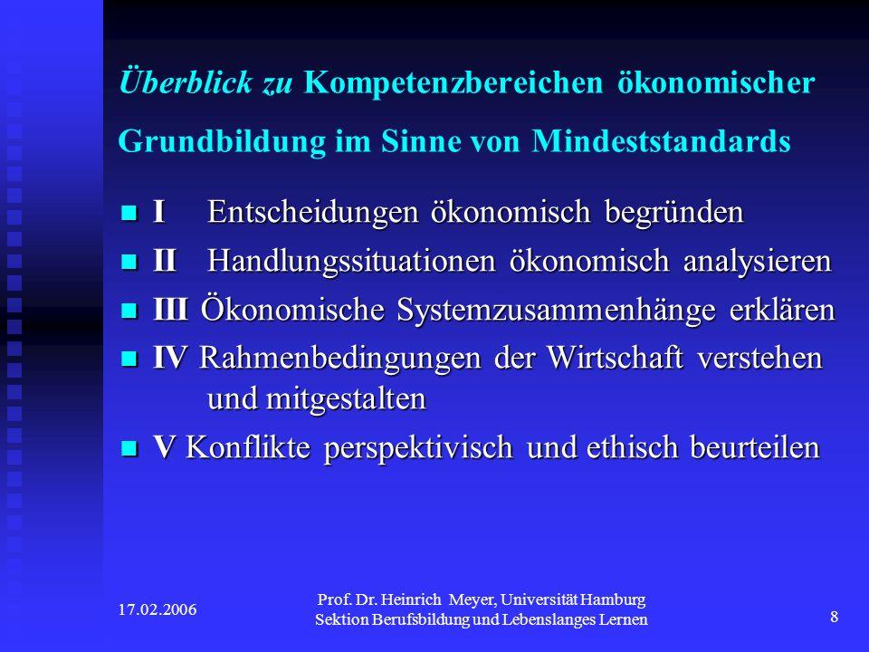 17.02.2006 Prof. Dr. Heinrich Meyer, Universität Hamburg Sektion Berufsbildung und Lebenslanges Lernen 8 Überblick zu Kompetenzbereichen ökonomischer