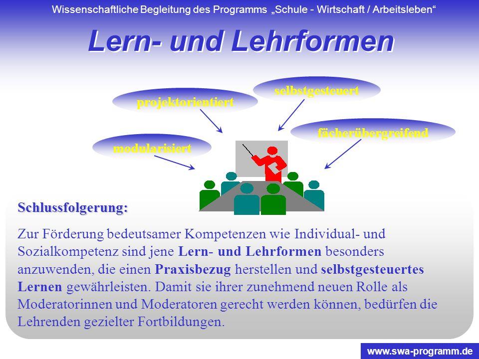 Wissenschaftliche Begleitung des Programms Schule - Wirtschaft / Arbeitsleben www.swa-programm.de Kooperationen Schlussfolgerung: Um eine wirksame Ver
