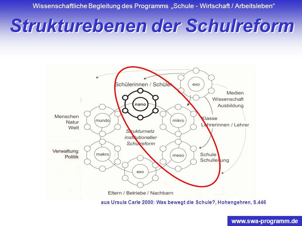 Wissenschaftliche Begleitung des Programms Schule - Wirtschaft / Arbeitsleben www.swa-programm.de Entwicklung durch Veränderung learning by doing doin