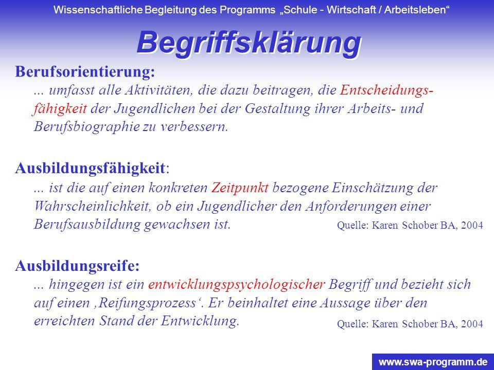 Wissenschaftliche Begleitung des Programms Schule - Wirtschaft / Arbeitsleben www.swa-programm.de Berufsorientierung:...