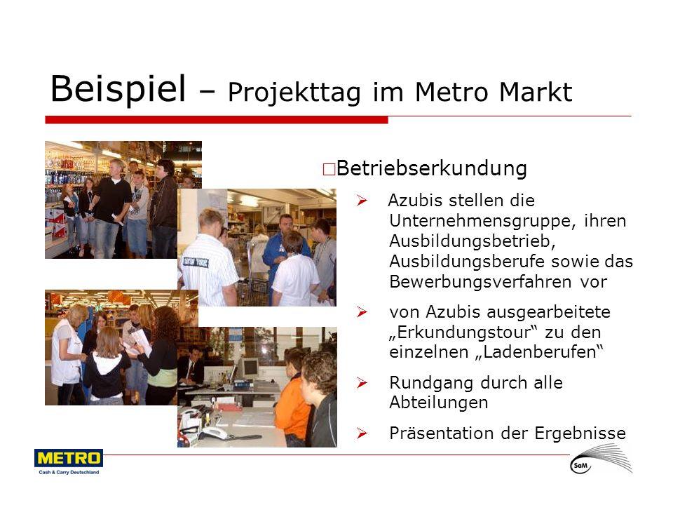 11 Beispiel – Projekttag im Metro Markt Betriebserkundung Azubis stellen die Unternehmensgruppe, ihren Ausbildungsbetrieb, Ausbildungsberufe sowie das