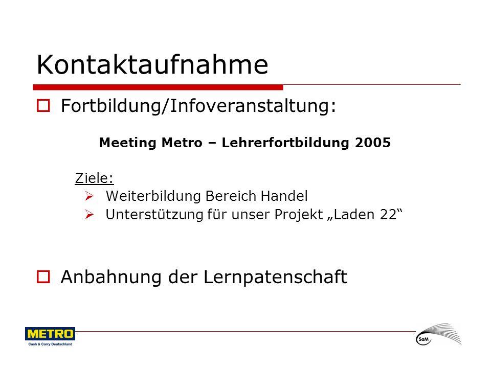 3 Kontaktaufnahme Fortbildung/Infoveranstaltung: Meeting Metro – Lehrerfortbildung 2005 Ziele: Weiterbildung Bereich Handel Unterstützung für unser Pr