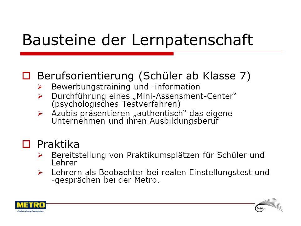 5 Bausteine der Lernpatenschaft Betriebsbesichtigung und -erkundung (Standort HH-Rahlstedt) Betriebsbesichtigung für interessierte, ausgewählte Schülergruppen (Klasse 9/10) Schwerpunkt: Projektarbeit Unterstützung der Schülerfirma Laden 22 durch Azubis