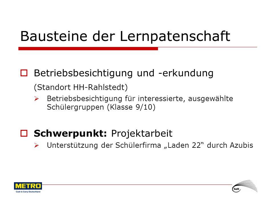 5 Bausteine der Lernpatenschaft Betriebsbesichtigung und -erkundung (Standort HH-Rahlstedt) Betriebsbesichtigung für interessierte, ausgewählte Schüle