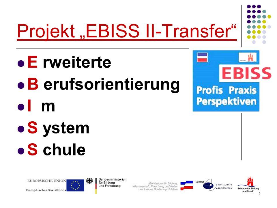 1 Projekt EBISS II-Transfer E rweiterte B erufsorientierung I m S ystem S chule