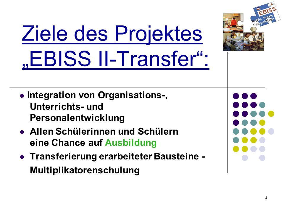 4 Ziele des Projektes EBISS II-Transfer: Integration von Organisations-, Unterrichts- und Personalentwicklung Allen Schülerinnen und Schülern eine Chance auf Ausbildung Transferierung erarbeiteter Bausteine - Multiplikatorenschulung