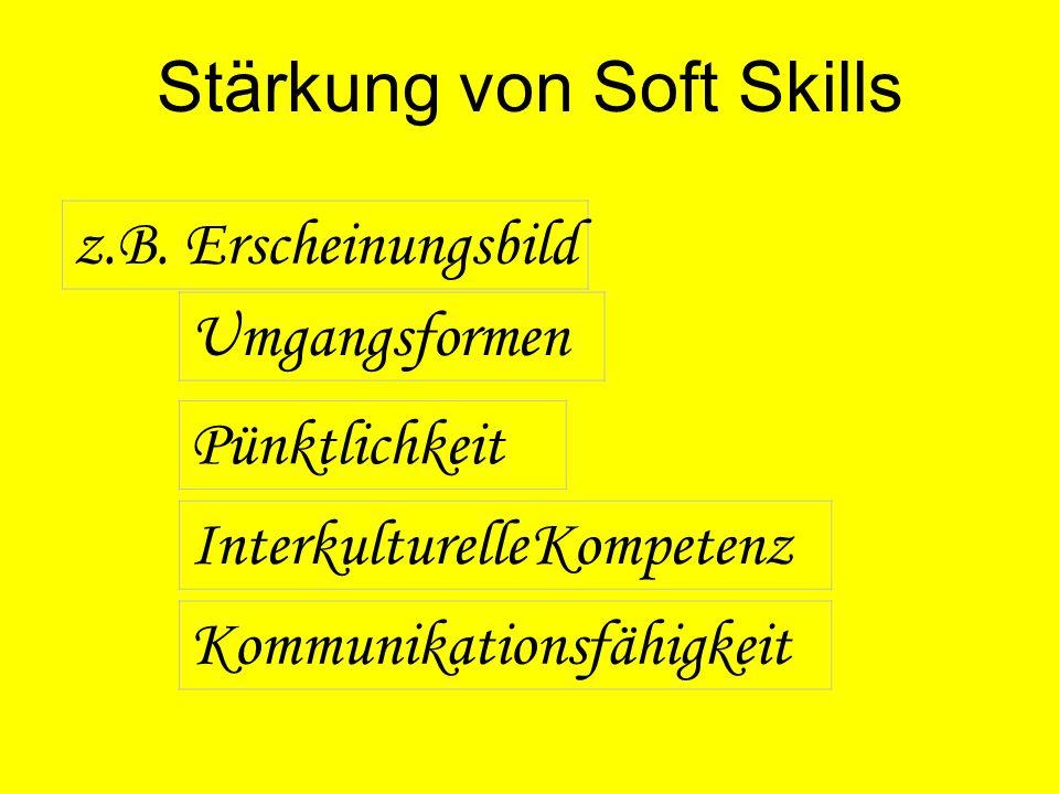 Stärkung von Soft Skills z.B. Erscheinungsbild Umgangsformen Kommunikationsfähigkeit Pünktlichkeit Interkulturelle Kompetenz