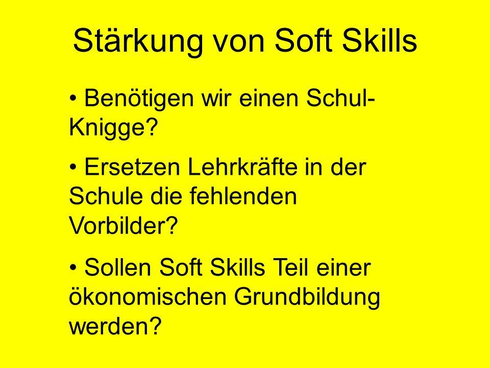 Stärkung von Soft Skills Benötigen wir einen Schul- Knigge? Ersetzen Lehrkräfte in der Schule die fehlenden Vorbilder? Sollen Soft Skills Teil einer ö