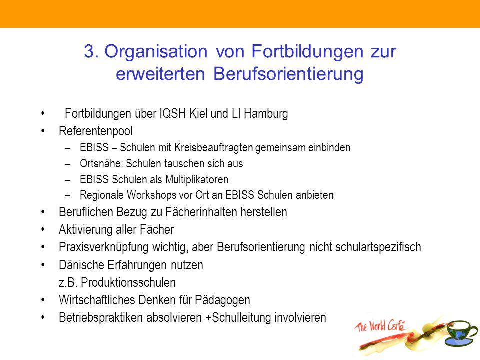 3. Organisation von Fortbildungen zur erweiterten Berufsorientierung Fortbildungen über IQSH Kiel und LI Hamburg Referentenpool –EBISS – Schulen mit K