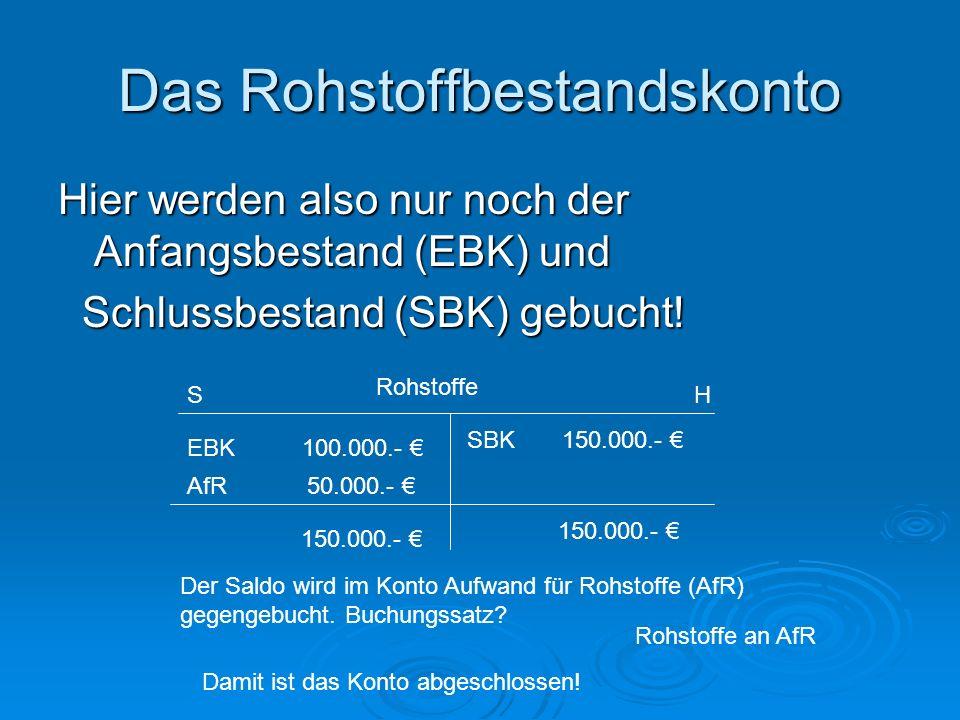 Das Rohstoffbestandskonto Hier werden also nur noch der Anfangsbestand (EBK) und Schlussbestand (SBK) gebucht.