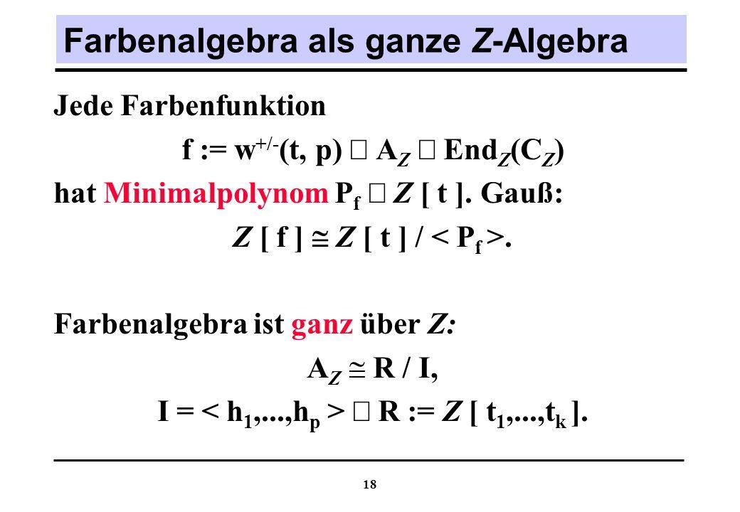 18 Farbenalgebra als ganze Z-Algebra Jede Farbenfunktion f := w +/- (t, p) A Z End Z (C Z ) hat Minimalpolynom P f Z [ t ].