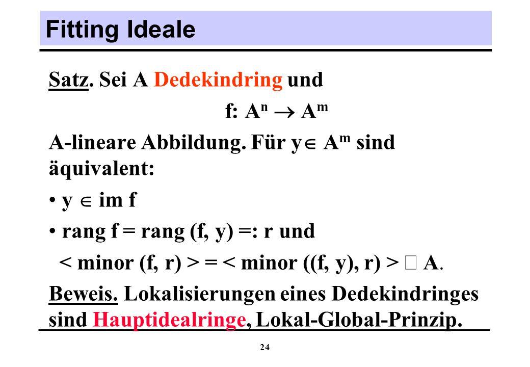 24 Fitting Ideale Satz.Sei A Dedekindring und f: A n A m A-lineare Abbildung.