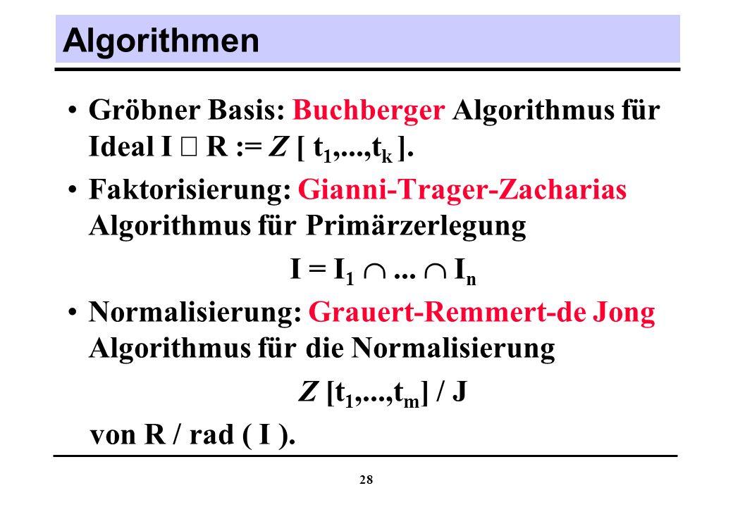 28 Algorithmen Gröbner Basis: Buchberger Algorithmus für Ideal I R := Z [ t 1,...,t k ].