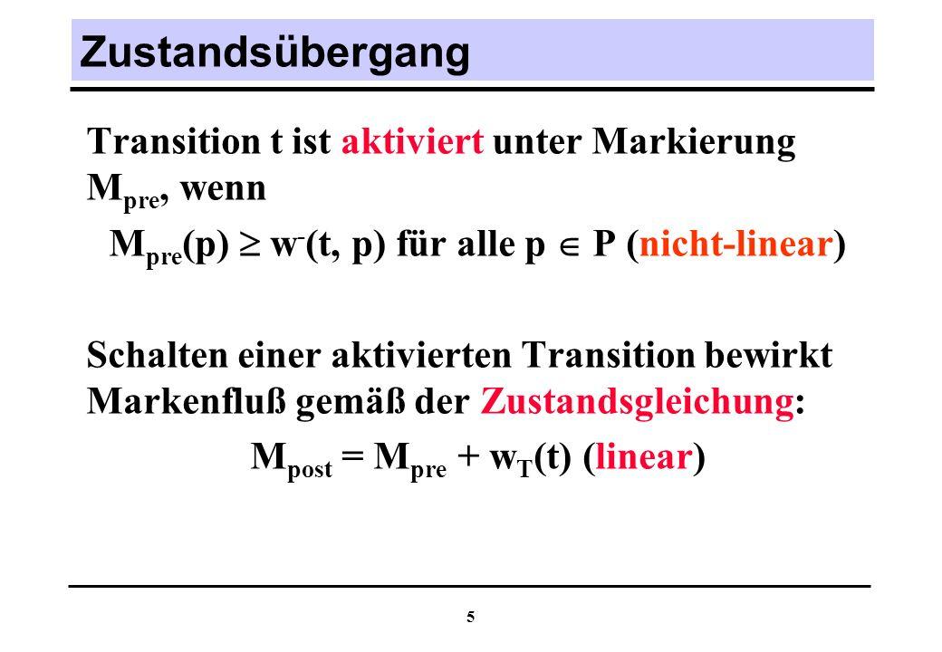 6 Potentielle Erreichbarkeit Notwendige Voraussetzung für die Erreichbarkeit einer Markierung M post in Petrinetz (N, M pre ) ist die Lösbarkeit der Zustandsgleichung über N: M := M post - M pre = w T ( ), C T (N) +.