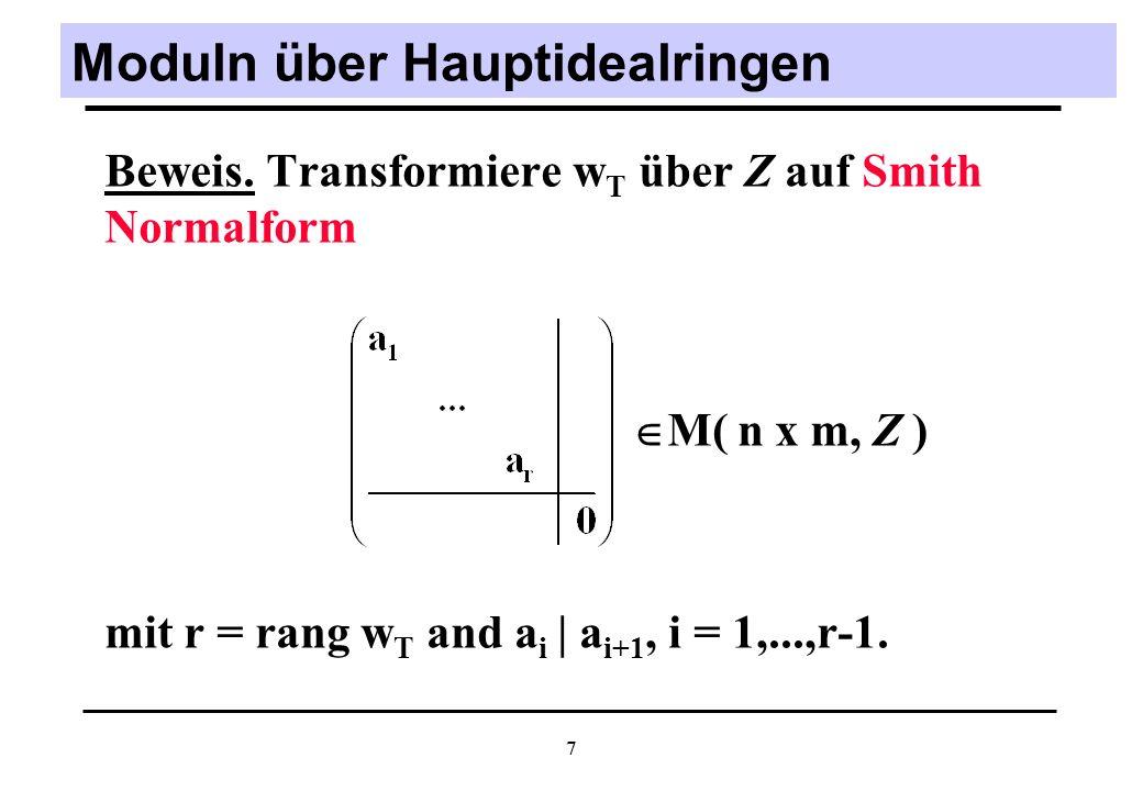 8 Beispiel (2) Für Markierung M post := M pre + p 2 * gilt rank (w) = 3 = rank (w, M ) = M post = M pre + w( t 1 + (1/2)(t 2 + t 3 ) )