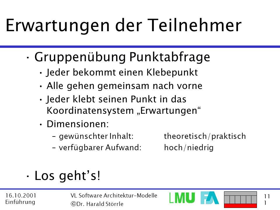 11 1 16.10.2001 Einführung VL Software Architektur-Modelle Dr. Harald Störrle Erwartungen der Teilnehmer ·Gruppenübung Punktabfrage Jeder bekommt eine
