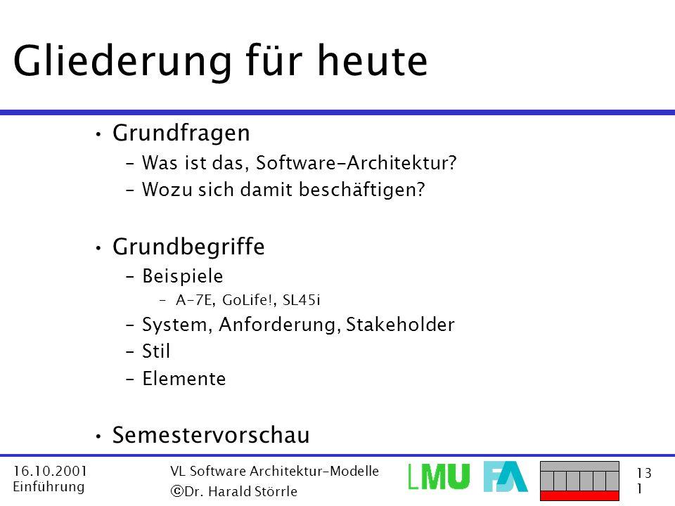 13 1 16.10.2001 Einführung VL Software Architektur-Modelle Dr. Harald Störrle Gliederung für heute Grundfragen –Was ist das, Software-Architektur? –Wo