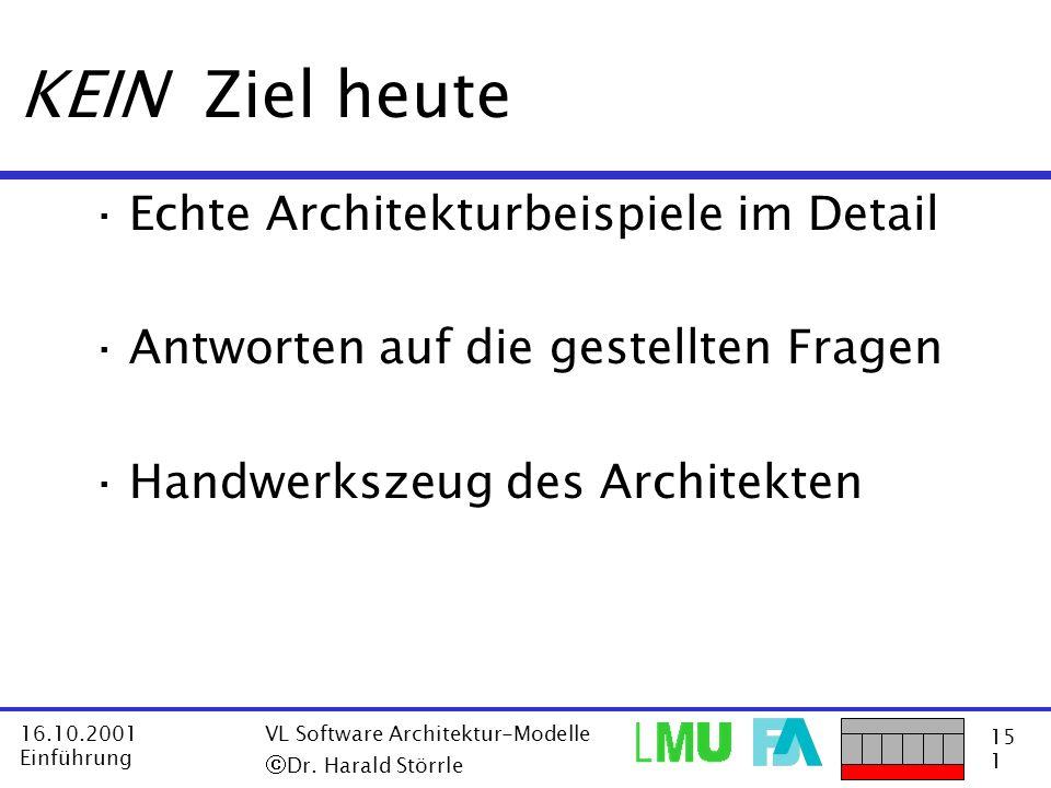 15 1 16.10.2001 Einführung VL Software Architektur-Modelle Dr. Harald Störrle KEIN Ziel heute ·Echte Architekturbeispiele im Detail ·Antworten auf die