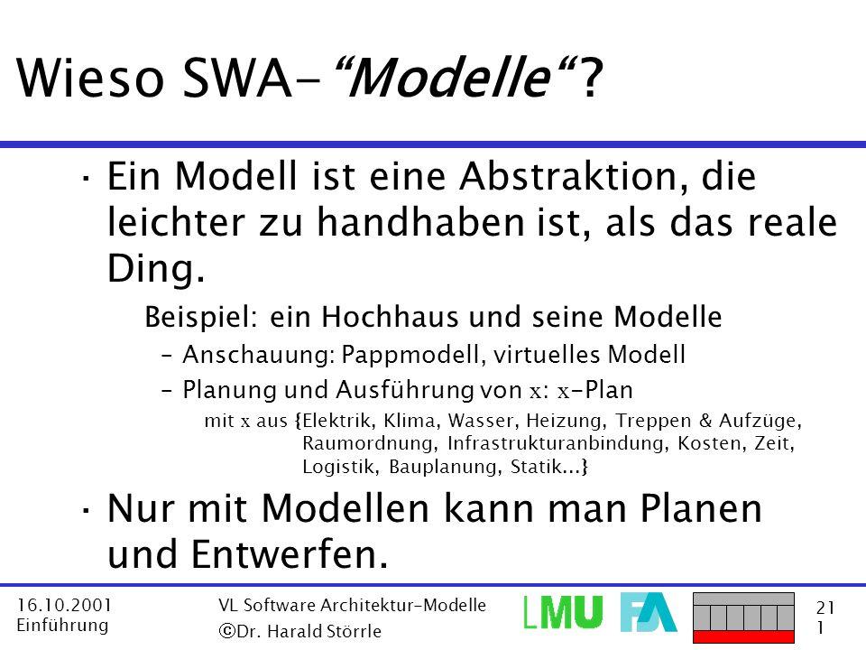 21 1 16.10.2001 Einführung VL Software Architektur-Modelle Dr. Harald Störrle Wieso SWA-Modelle ? ·Ein Modell ist eine Abstraktion, die leichter zu ha