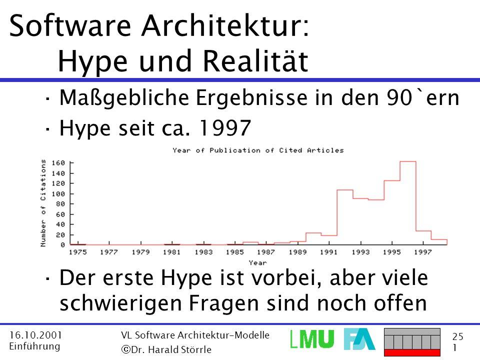 25 1 16.10.2001 Einführung VL Software Architektur-Modelle Dr. Harald Störrle Software Architektur: Hype und Realität ·Maßgebliche Ergebnisse in den 9