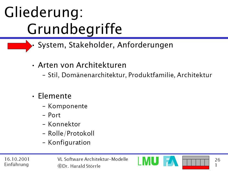 26 1 16.10.2001 Einführung VL Software Architektur-Modelle Dr. Harald Störrle Gliederung: Grundbegriffe System, Stakeholder, Anforderungen Arten von A